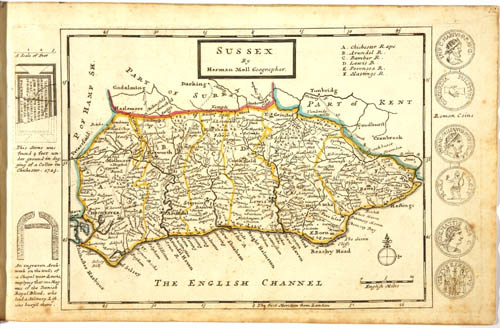 old map of Sussex, England, United Kingdom from 1724